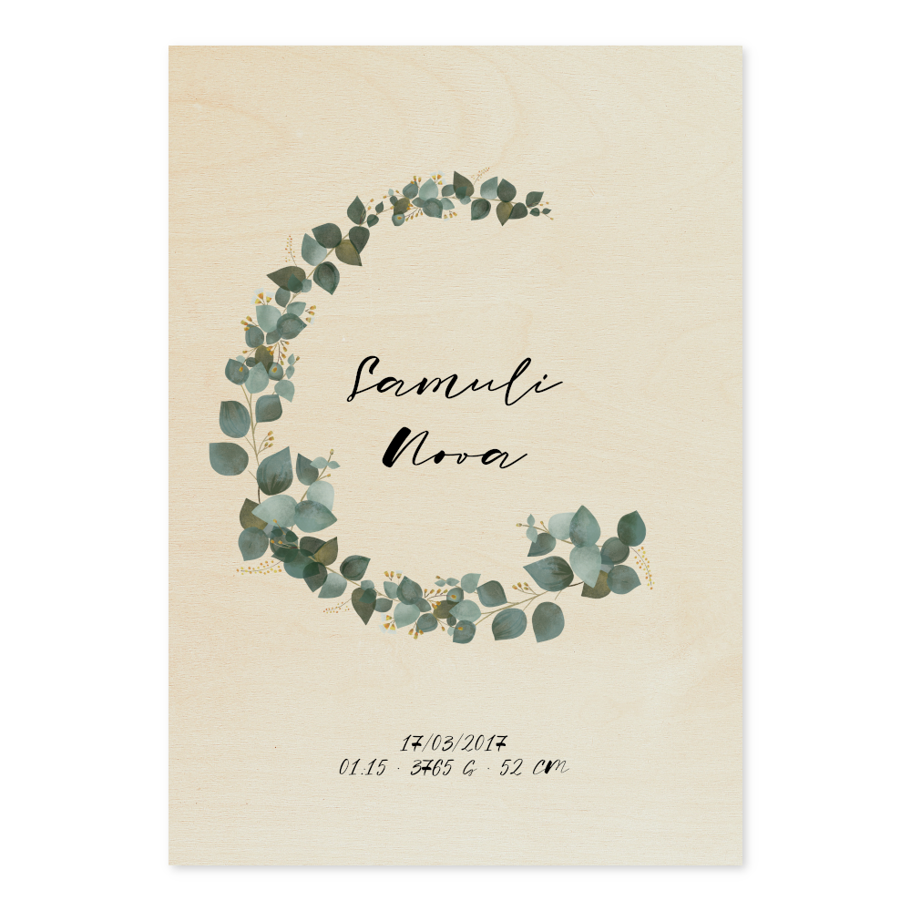 Wooden Your Day Poster - Eucalyptus Wreath