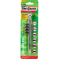 Slime Chrome Pencil Tire Gauge with Valve Caps #2005-A