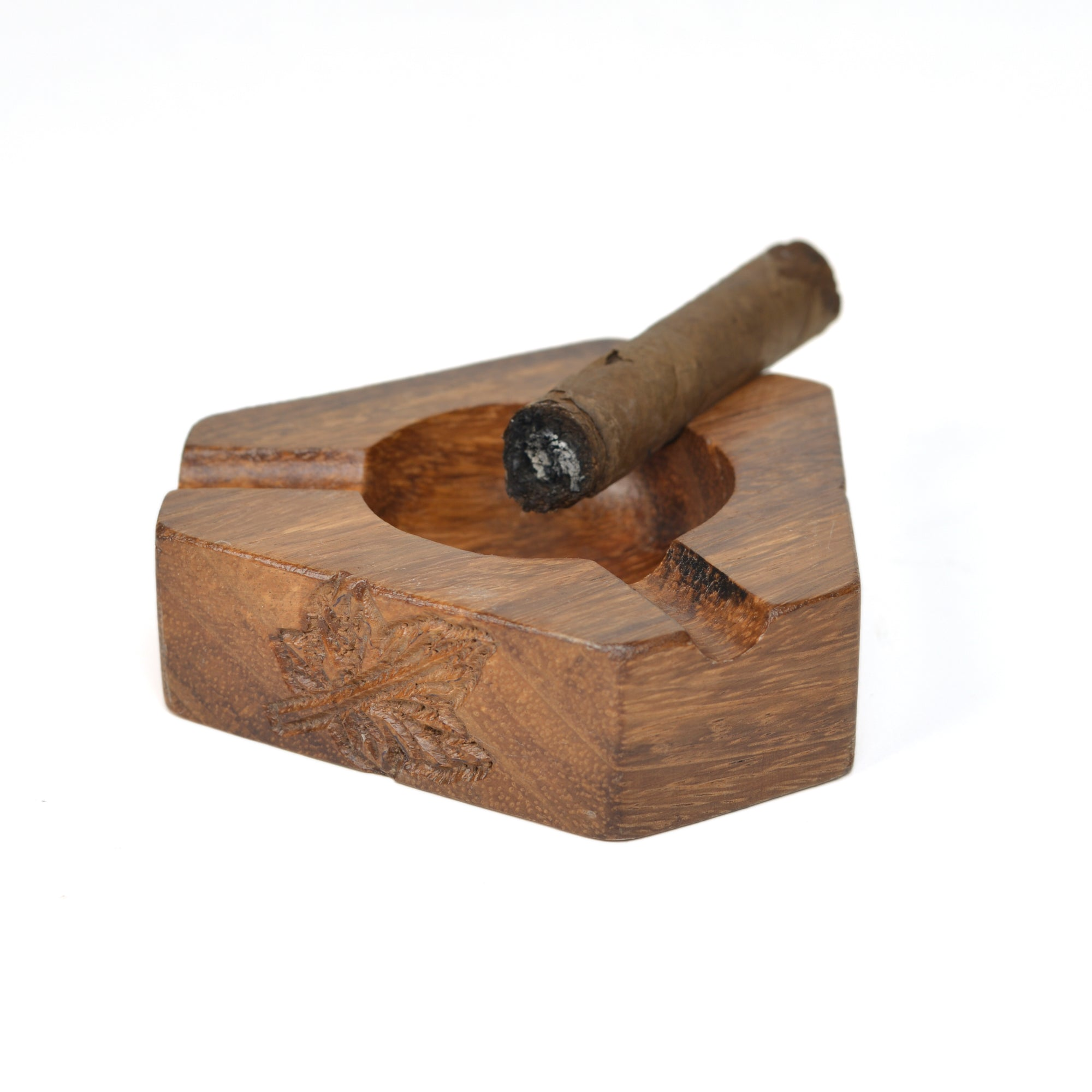 Carved Wooden Cigar Ashtrays (3- Slot)