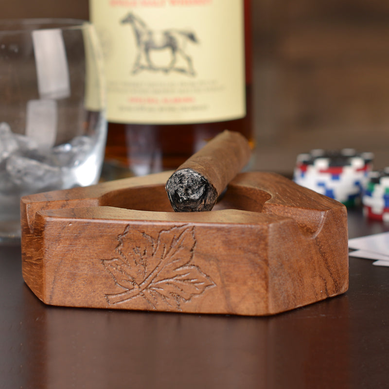 3-Slot Carved Wooden Cigar Ashtrays