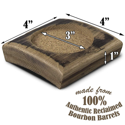 Briar and Oak Reclaimed Bourbon Barrel Drink Coaster Set of 4- Rustic Wooden Coaster Made in the USA