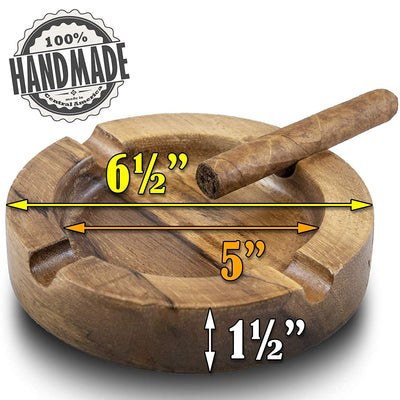 Wooden Cigar Ashtrays– The Mayan Line- 4 Styles to Choose From- Carved Wood Design made in Central America by Local Artisan Craftsman- Great Cigar Accessories Gift for Men (Round-No Leaf)