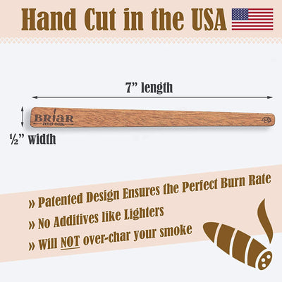 Cedar Spills Cigar Lighter Strips- Traditional Way to Light Cigars - Made in The USA of Spanish Cedar Wood- Cigar and Pipe Smoking Accessories for Men (40)