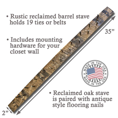 Briar and Oak Rustic Tie or Belt Holder for Wall - Made from Reclaimed Barrel Staves in The USA - Holds 19 Neck Ties or Belts