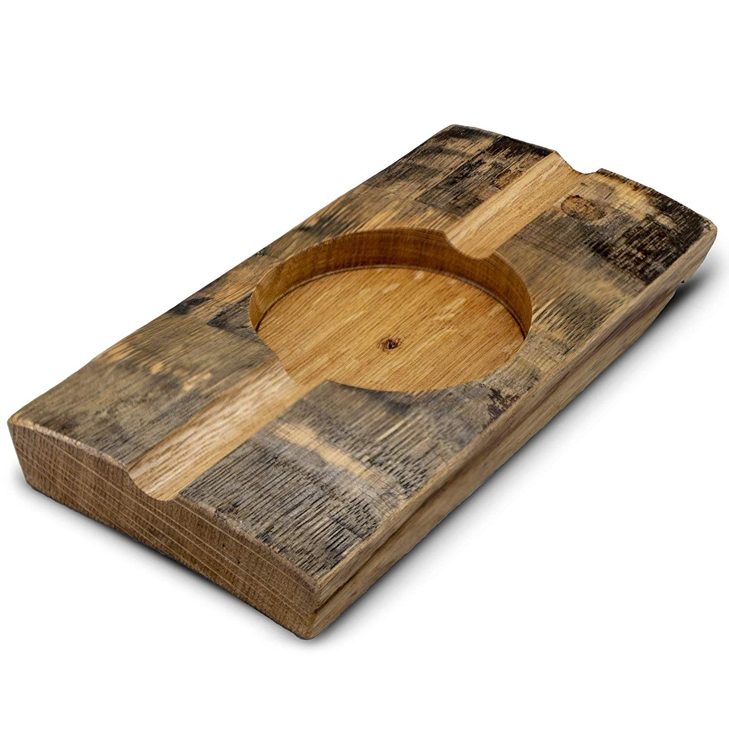 Briar and Oak Bourbon Barrel Stave Cigar Ashtray – Made in The USA from Reclaimed Authentic Bourbon Barrels - Great Cigar Accessories Gift Set for Men