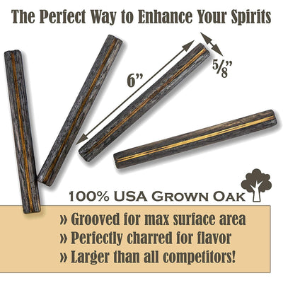 Whiskey Aging Infusion Sticks - for Home Brewers, Charred Oak enhances flavors of your favorite Whiskey, Scotch, Wine, Beer or Moonshine! (4)