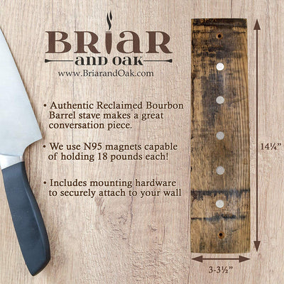 Briar and Oak Magnetic Knife Strip Holder, Made in the USA from Reclaimed Wood Bourbon Barrels - Holds Kitchen Knives - Hardware Included
