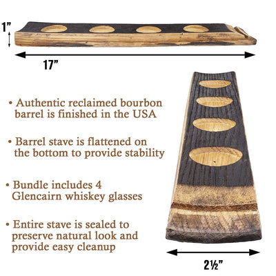 4-Hole With Glasses Briar And Oak Barrel Stave Flight Tray - Charred Top With 5 Slots for Glencairn or Shot Glasses - Made In The USA
