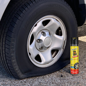 Fix-a-Flat 24 oz #S60369 Can Next to Tire
