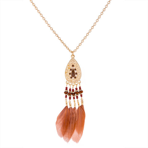 Enamel & Gold Tone Feather Necklace in Rust