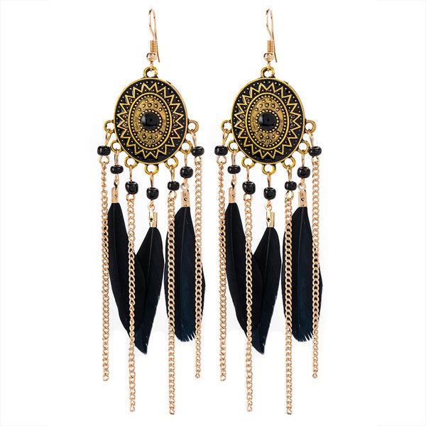 Black Feather Statement Earrings - IndependentBoutique.com
