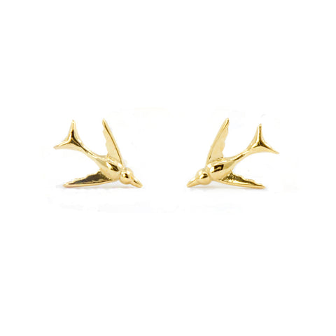 Tiny Swallow Earrings - Gold Vermeil - IndependentBoutique.com