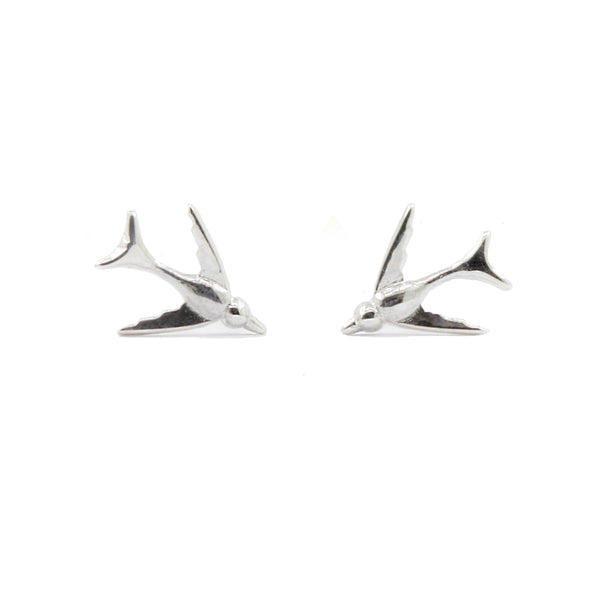 Tiny Swallow Earrings - Silver