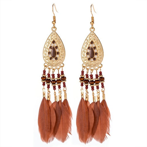 Enamel & Gold Tone Feather Earrings in Rust