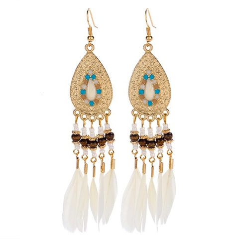 Enamel & Gold Tone Feather Earrings in Cream - IndependentBoutique.com