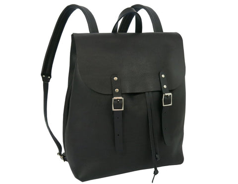 black leather rucksack with buckles made in UK