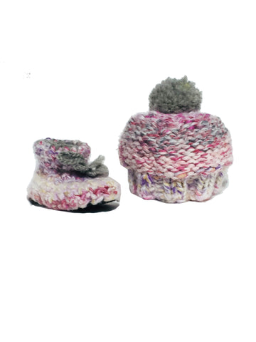 Pink Woolly Knitted Beanie & Crochet Sheepskin Bootie Set - IndependentBoutique.com