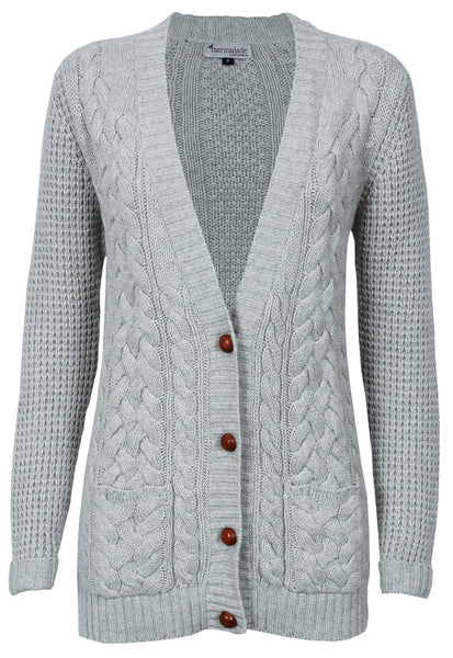 Chunky Cashmere Silver Marl Cable Cardi - IndependentBoutique.com