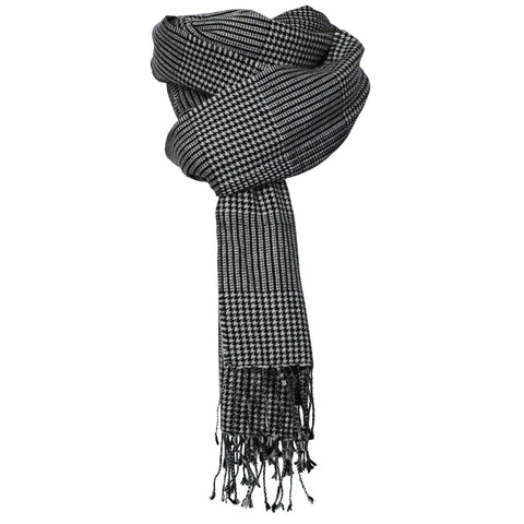 Cashmere Travel Houndstooth Monochrome Wrap - IndependentBoutique.com