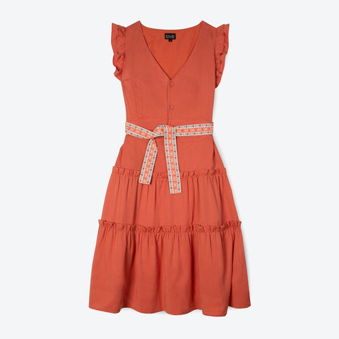 ruffle summer dress in apricot orange with belt and capped sleeves made from Lyocell | IndependentBoutique.com