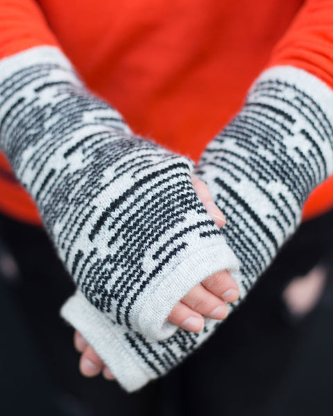 Woolly Black and White Fairisle Handwarmers - IndependentBoutique.com