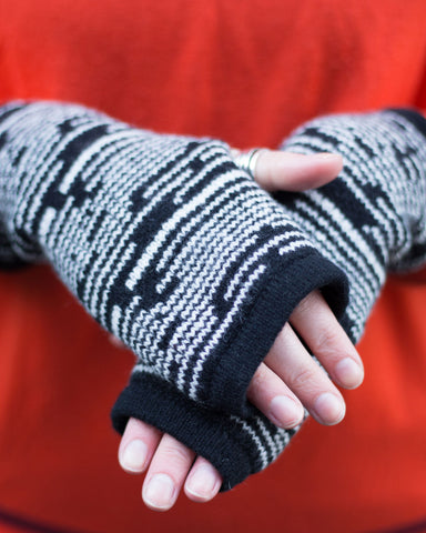 Woolly Black and White Fairisle Handwarmers Made In Scotland
