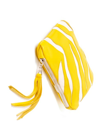 Yellow & White Leather Tiger Clutch