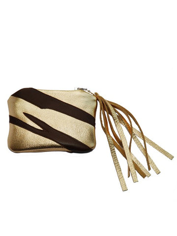 Gold & Chocolate Leather Tiger Purse