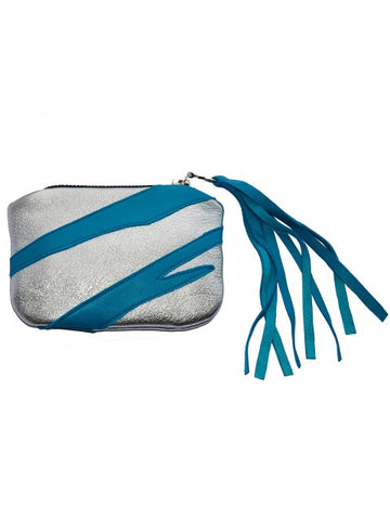 silver and blue leather coin purse in tiger pattern
