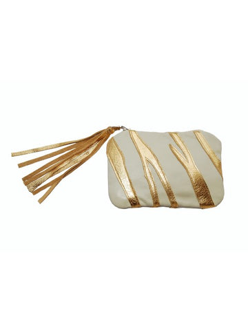 Gold & Cream Leather Clutch