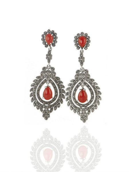 Carnelian and sterling silver dangle earrings - IndependentBoutique.com