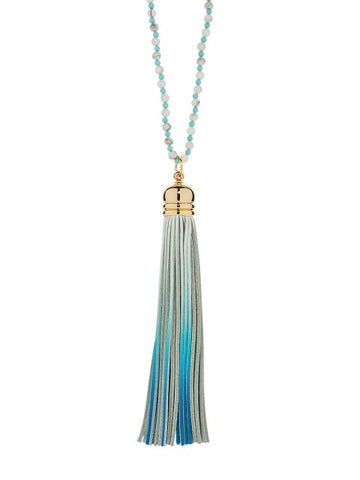 Cool Blue Sorbet Tassel Necklace - IndependentBoutique.com