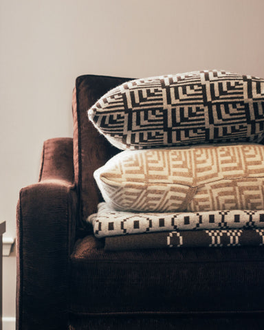 Brown Fairisle Lambswool Dainty Cushion by Mixter Maxter | IndependentBoutique.com