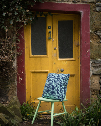 Blue Fairisle Lambswool Dainty Cushion by Mixter Maxter | IndependentBoutique.com