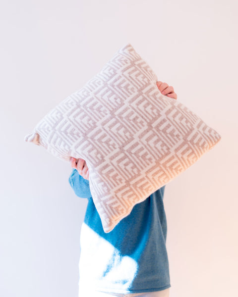 Stone & Cream Fairisle Lambswool Dainty Cushion - IndependentBoutique.com