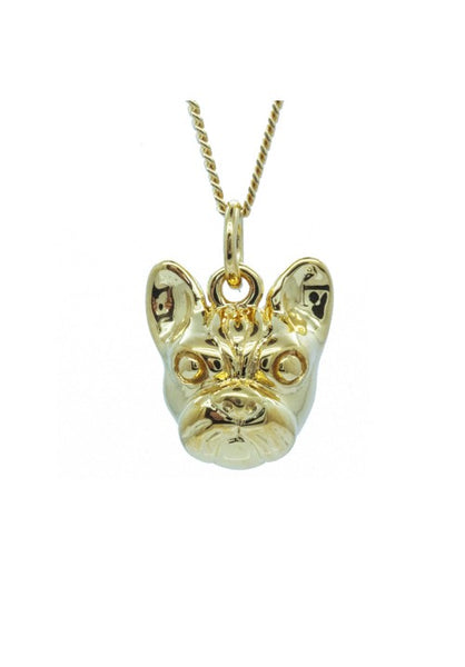 Gold French Bulldog Face Pendant Necklace - IndependentBoutique.com