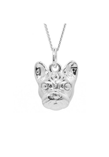 Silver French Bulldog Face Pendant Necklace - IndependentBoutique.com