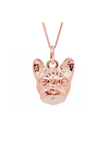 Rose Gold French Bulldog Face Pendant Necklace - IndependentBoutique.com