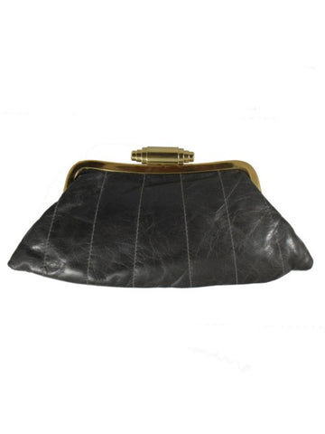 Black leather clutch bag with gold clasp - IndependentBoutique.com