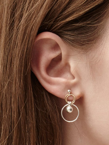 gold & Silver ball and hoop earrings