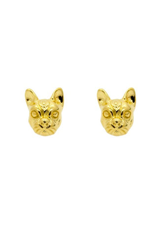 Gold French Bulldog Stud Earrings - IndependentBoutique.com