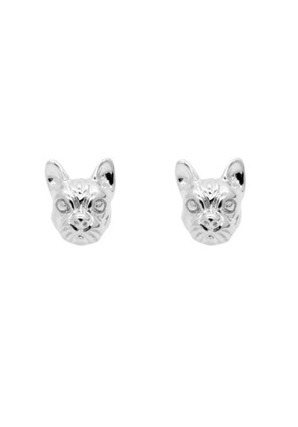 FRENCHIE FACE STUDS IN SILVER