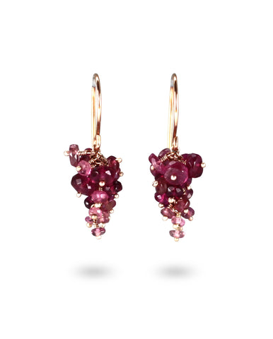 pink purple tourmaline cluster drop earrings from British Designer Kate Wood Jewellery