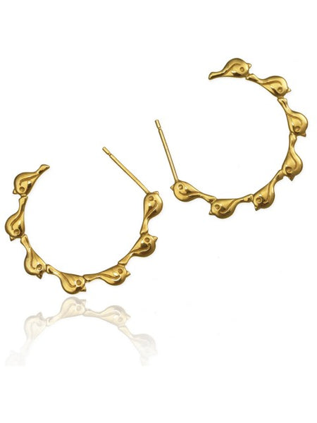 Gold Flock Creole Earrings - IndependentBoutique.com