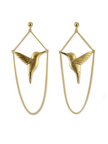 Gold Hummingbird Drop Earrings - IndependentBoutique.com