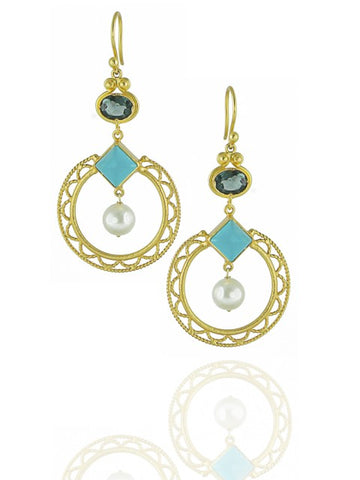 Gold plated dangle earrings - IndependentBoutique.com
