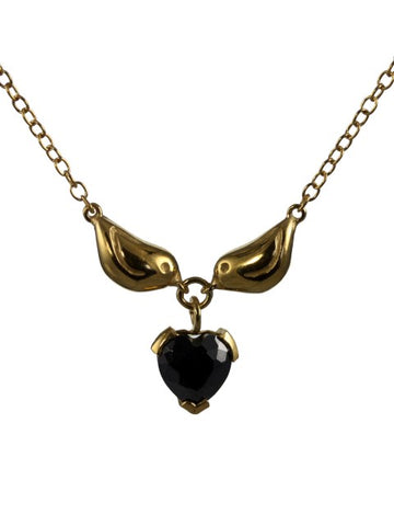 Golden Sparrow Heart Necklace