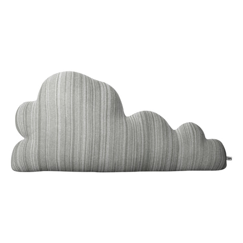 grey stripy knitted cloud shaped cushion in lambswool at IndependentBoutique.com