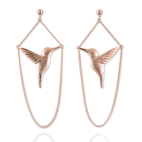Rose Gold Hummingbird Drop Earrings - IndependentBoutique.com