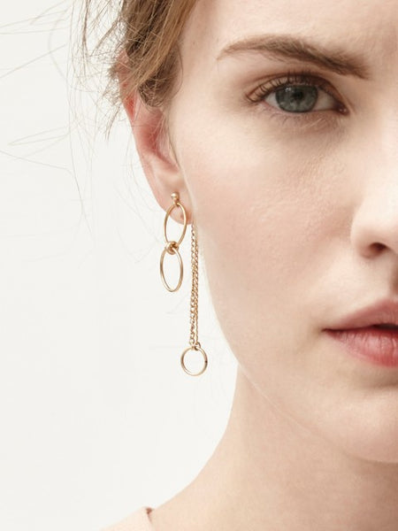 Hetty Gold Double Circle & Chain Stud Earrings - IndependentBoutique.com